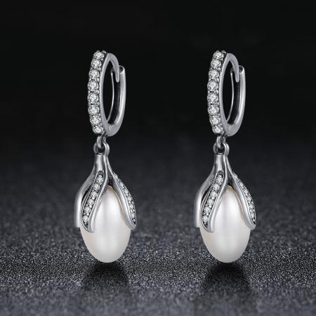 Cercei argint 925 cu perle fine si zirconii albe - Be Nature EST00131