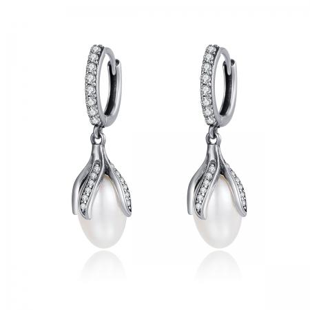 Cercei argint 925 cu perle fine si zirconii albe - Be Nature EST0013
