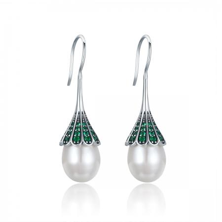 Cercei argint 925 cu perle fine si zirconii verzi - Be Nature EST0012