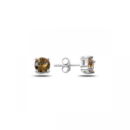 Cercei argint 925 cu pietre de zultanit rotunde de 6 mm placat cu rodiu - ETU0122