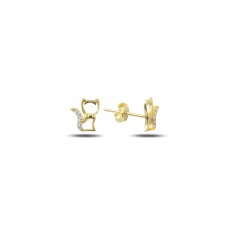 Cercei argint 925 cu pisicute, placati cu aur - ETU0123