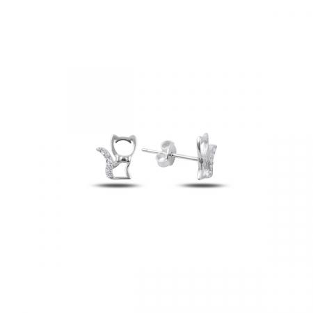 Cercei argint 925 cu pisicute, placati cu rodiu - ETU0124
