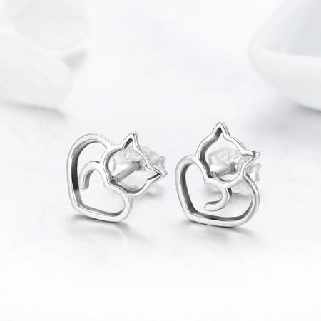 Cercei argint 925 cu pisicute si inimioare - Be Nature EST00143