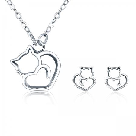 Cercei argint 925 cu pisicute si inimioare - Be Nature EST00146
