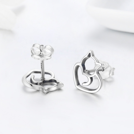 Cercei argint 925 cu pisicute si inimioare - Be Nature EST00144