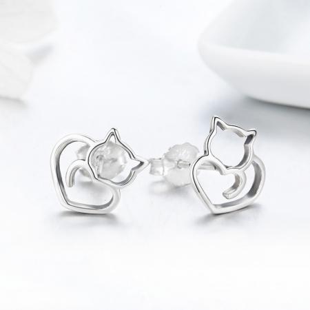 Cercei argint 925 cu pisicute si inimioare - Be Nature EST00142