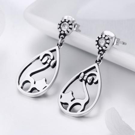Cercei argint 925 cu pisicute si zirconii albe - Be Nature EST00211