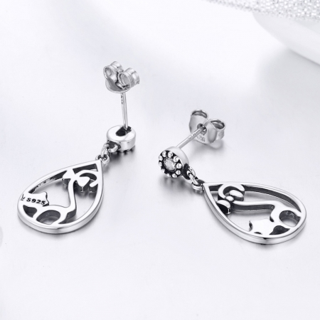 Cercei argint 925 cu pisicute si zirconii albe - Be Nature EST00213