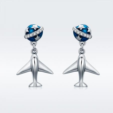 Cercei argint 925 cu planete, stelute, avioane si zirconii - Be Nature EST00202
