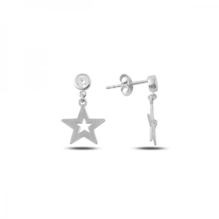 Cercei argint 925 cu stelute si zirconii albe - Be Nature ETU0081