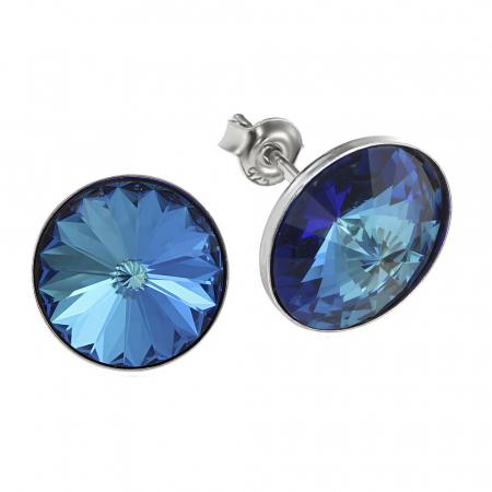 Cercei argint 925 cu swarovski elements 12 mm Bermuda Blue