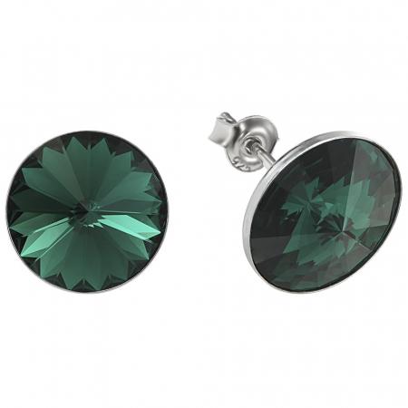 Cercei argint 925 cu swarovski elements 12 mm Emerald