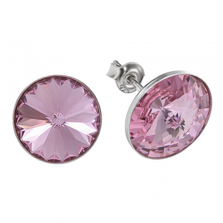 Cercei argint 925 cu swarovski elements 12 mm Light Rose