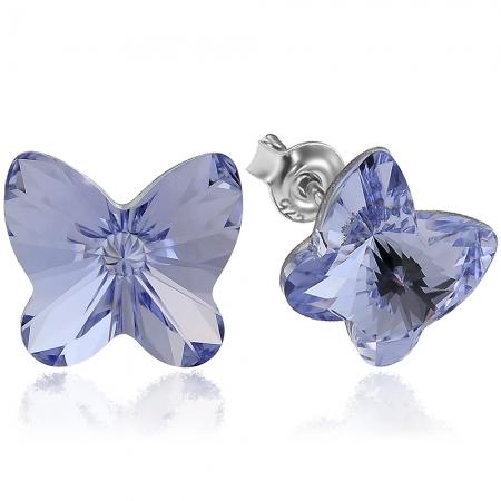 Cercei argint 925 cu swarovski elements fluture 10 mm Provence Lavender