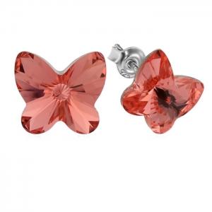 Cercei argint 925 cu swarovski elements fluturas 10 mm Rose Peach