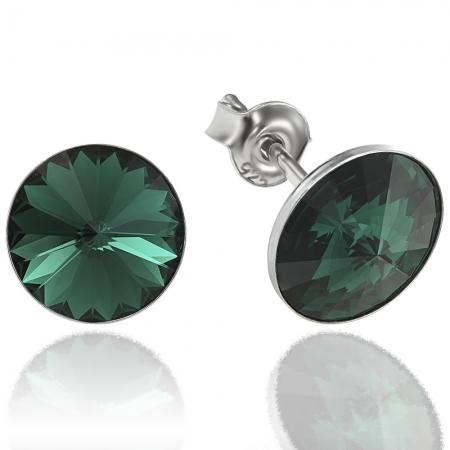 Cercei argint 925 cu swarovski elements 8 mm Emerald