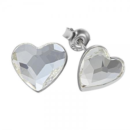 Cercei argint 925 cu swarovski elements 10 mm Crystal Clear