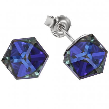 Cercei argint 925 cu swarovski elements Bermuda Blue1