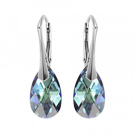 Cercei argint 925 cu swarovski elements culoare Bermuda Blue