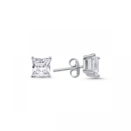 Cercei argint 925 cu zirconii albe patrate de 6 mm placat cu rodiu - ETU0116