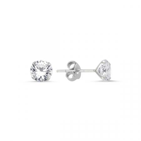 Cercei argint 925 cu zirconii albe rotunde 6 mm - ETU0108