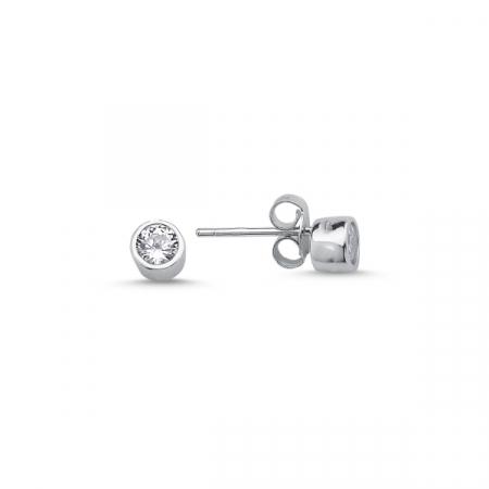 Cercei argint 925 cu zirconii albe rotunde de 4 mm placat cu rodiu - ETU0117