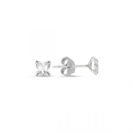 Cercei argint 925 cu zirconii patrate albe 4 mm - ETU0111