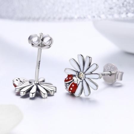 Cercei argint 925 gargarite cu floricele si zirconii - Be Lucky EST00223