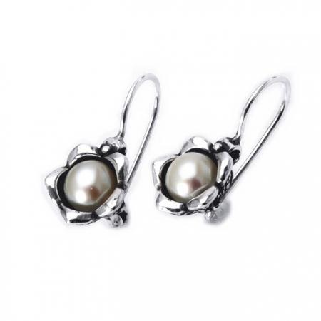 Cercei argint 925 Israel cu perle si floricele - Be Nature EPO0020