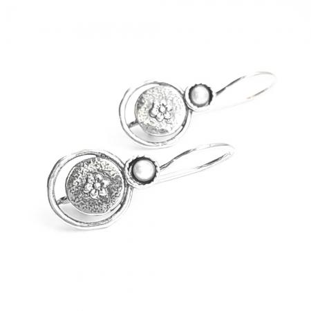 Cercei argint 925 Israel cu perle si floricele - Be Nature EPO0037
