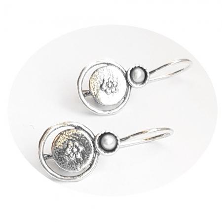 Cercei argint 925 Israel cu perle si floricele - Be Nature EPO00371