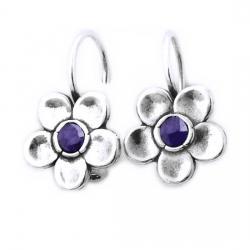 Cercei argint 925 Israel floare cu ametist - Be Nature [0]
