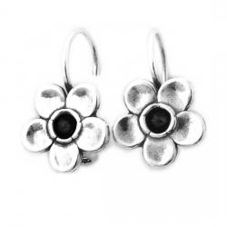 Cercei argint 925 Israel floare cu onix - Be Nature EPO0018