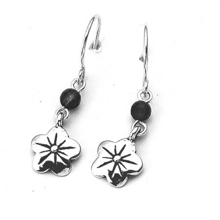 Cercei argint 925 Israel floare cu onix - Be Nature EPO0042