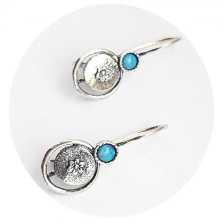 Cercei argint 925 Israel floare cu opal imperial - Be Nature EPO0033 [1]