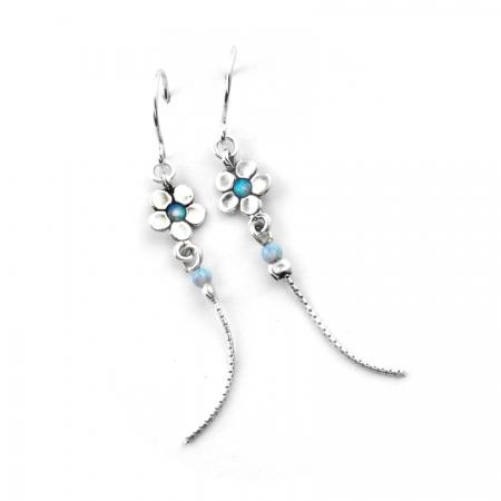 Cercei argint 925 Israel floare cu opal imperial - Be Nature EPO0045