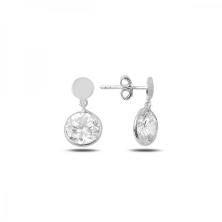 Cercei argint 925 rodiat cu banuti si zirconii albe - Be Authentic ETU0097