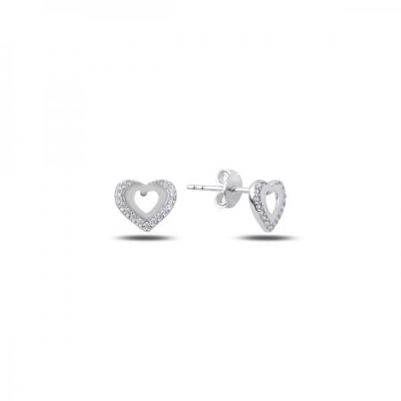 Cercei argint 925 rodiat cu inimioare si zirconii albe - Be in Love ETU0068