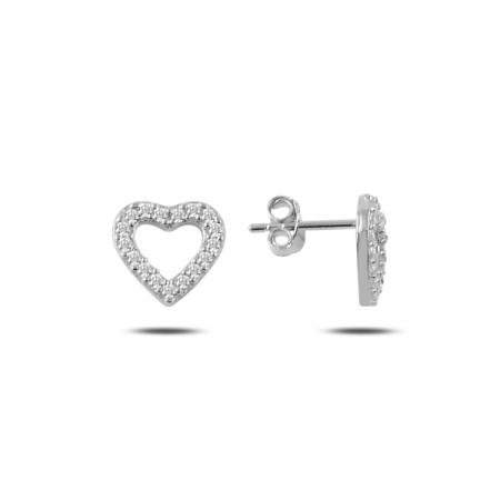 Cercei argint 925 rodiat cu inimioare si zirconii albe - Be in Love ETU0083