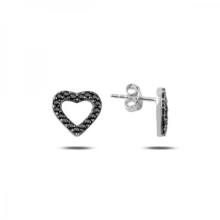 Cercei argint 925 rodiat cu inimioare si zirconii negre - Be in Love ETU0080