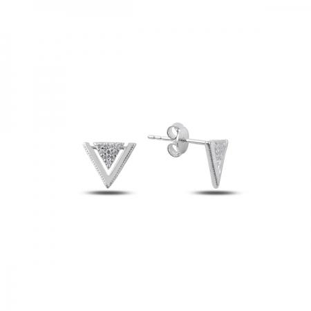 Cercei argint 925 rodiat cu zirconii albe, model minimalist - Be Authentic ETU0079