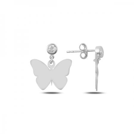 Cercei argint 925 rodiat cu zirconii albe si fluturasi - Be Nature ETU0082