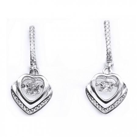 Cercei argint 925 rodiat inimioare cu zirconii CER0750 - Be in Love0