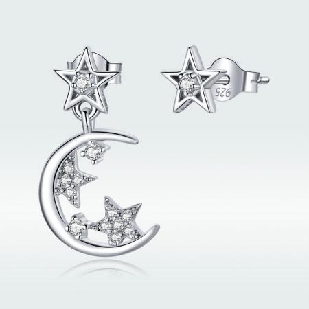 Cercei argint asimetrici cu Luna si Stele1