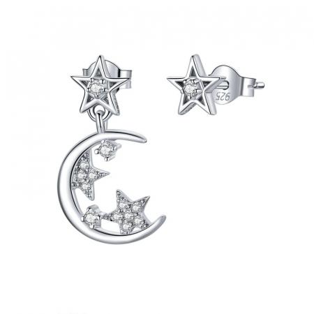 Cercei argint asimetrici cu Luna si Stele