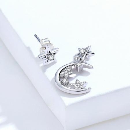 Cercei argint asimetrici cu Luna si Stele5