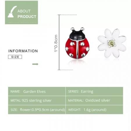 Cercei argint asimetrici floare si gargarita4