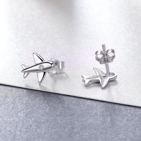 Cercei argint avion cu cristale3