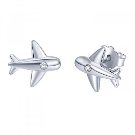 Cercei argint avion cu cristale