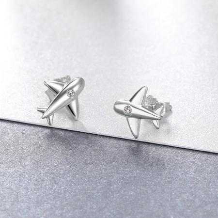 Cercei argint avion cu cristale2
